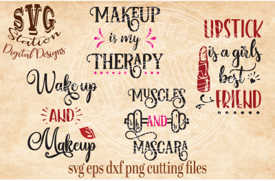 Lipstick Makeup Muscles / SVG DXF PNG EPS Cutting File Silhouette Cricut