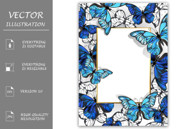 Rectangular Banner with Butterflies Morpho