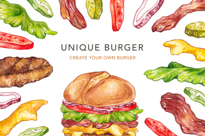 Unique Burger. Watercolor