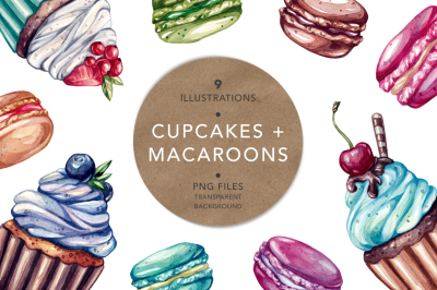 Cupcakes & macaroons. Illustrations