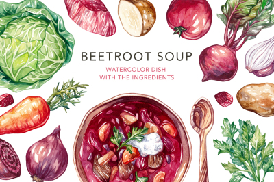 Beetroot Soup+Watercolor Ingredients