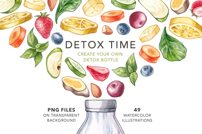 Detox Time. Watercolor Detox Bottle