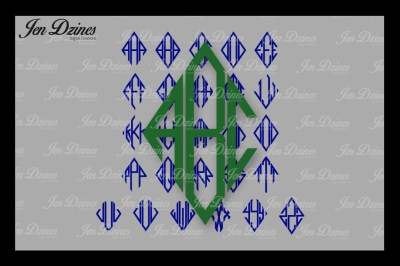 Diamond Monogram Font SVG DXF EPS PNG