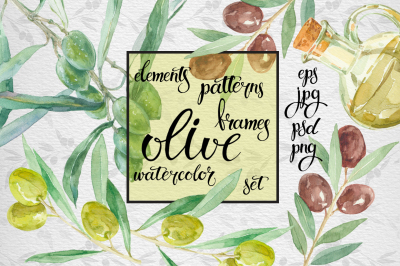 Watercolor olive set