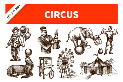 Hand Draw Sketch Circus Vector Set