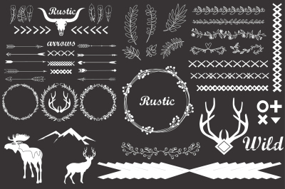 Hand drawn vintage arrows, feathers