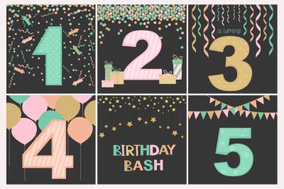 Birthday set of greeting elements