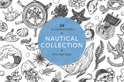 Nautical collection. Sea set.