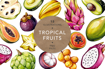Tropical Fruits, Watercolor