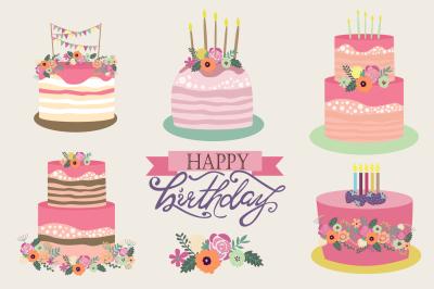 Set of sweet birthday cake