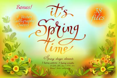 Spring Floral Wreaths & Patterns Set