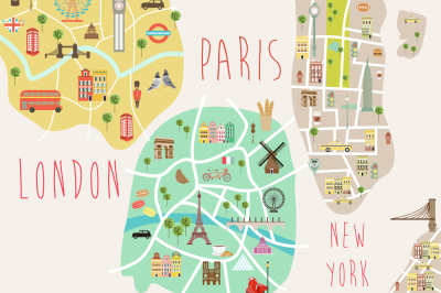 New York, London and Paris map