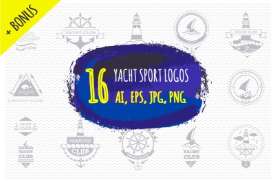 Set of yacht sport logos and emblems
