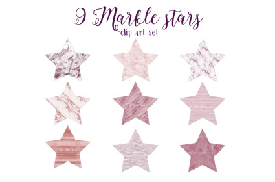 Pink marble stars clipart set 1