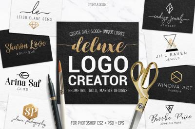 Deluxe, geometric, gold logo creator kit