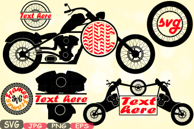 Choppers Split & Circle Monogram Motorbike Cutting Files SVG Motorcycle Silhouette Motorcycle Clipart decal Frames Bunting Digital -621S