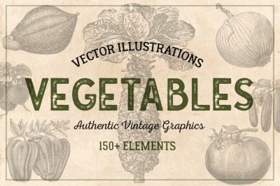 150 Vintage Vegetables - Vector