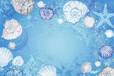 Blue background with seashells