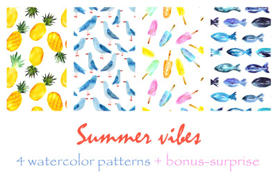 4 hand drawn summer patterns