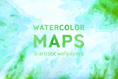 Watercolor Maps – set of 6 high-resolution images