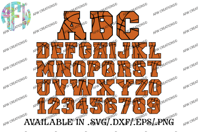 Basketball Sports Letters & Numbers - SVG, DXF, EPS Digital Cut Files