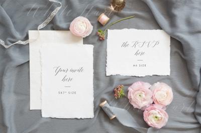 Wedding invitation suite mock up