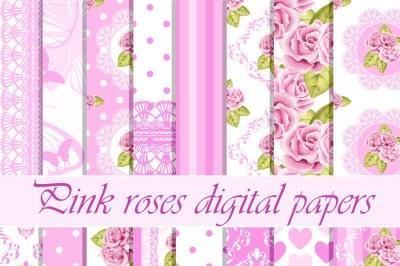 Pink roses digital paper