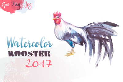 Watercolor illustration.Rooster 2017