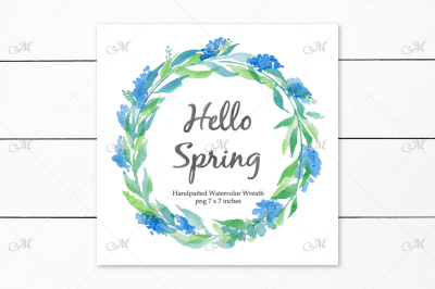 Handpaited Watercolor Wreath Clipart PNG