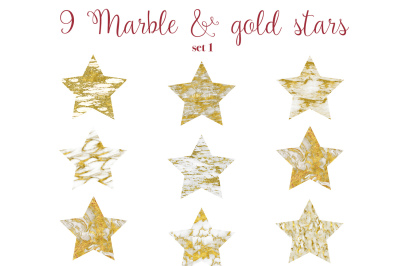 Marble + gold stars clip art