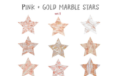 Pink gold marble stars clipart