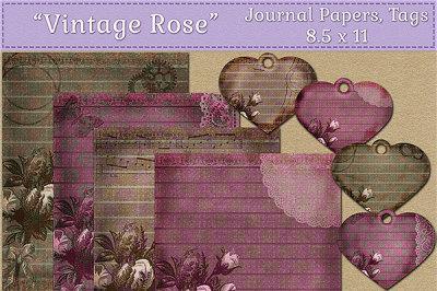 Vintage Rose Journal Papers