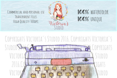 Watercolor typewriter