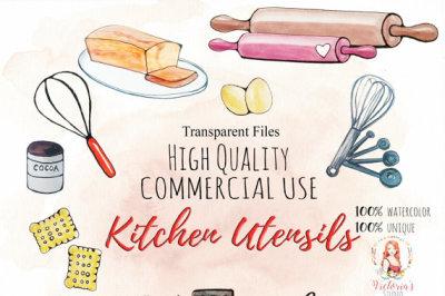 Watercolor Clipart Set Kitchen Utensils