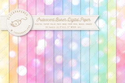 Iridescent Bokeh Pastel Digital Paper Multi-color Value Pack