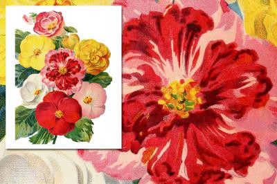 Begonia Bouquet Vintage Watercolor Flowers