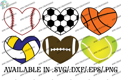 Sports Hearts - SVG, DXF, EPS Digital Cut Fies