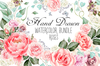 Hand Drawn Watercolor ROSES BUNDLE