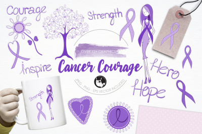 Cancer Courage graphics and illustrations