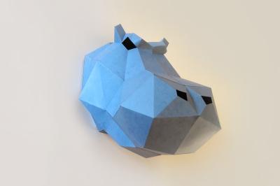 DIY Hippo Head trophy -3d papercrafts