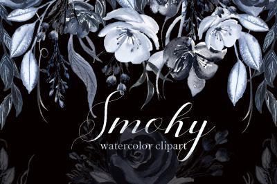 Smoky. Black grey watercolor flowers clipart