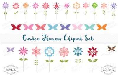 Garden Flowers Clipart Set