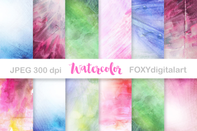 Watercolor Digital Paper Scrapbook in Bright Colors