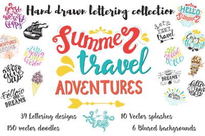 Hand drawn travel & summer lettering