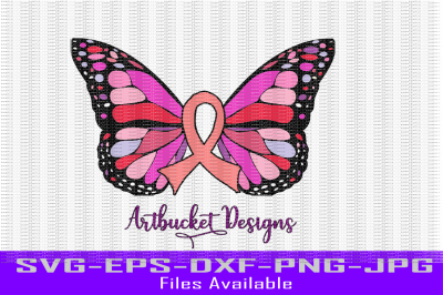 Cancer Ribbon Butterfly
