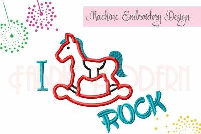 I Rock, rocking horse applique' design #841