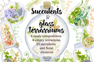 Watercolor Succulents and cactus glass terrariums creator. Cactus clipart. Hand painted clipart, succulents clip art.