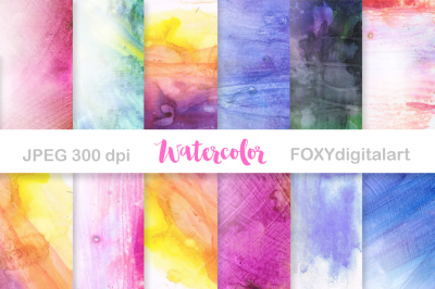 Hand Painted Digital Watercolor Papers Scrapbook
