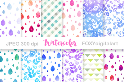 Watercolor Floral Digital Paper Scrapbook