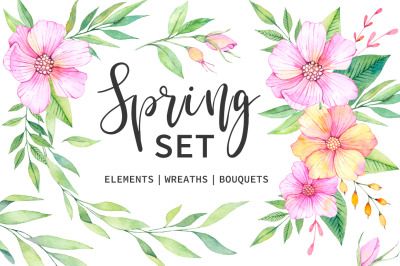 Spring set. Watercolor clipart